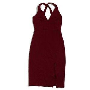 Lulu's Dresses - Lulus Burgundy Gathering Glances Bodycon Dress